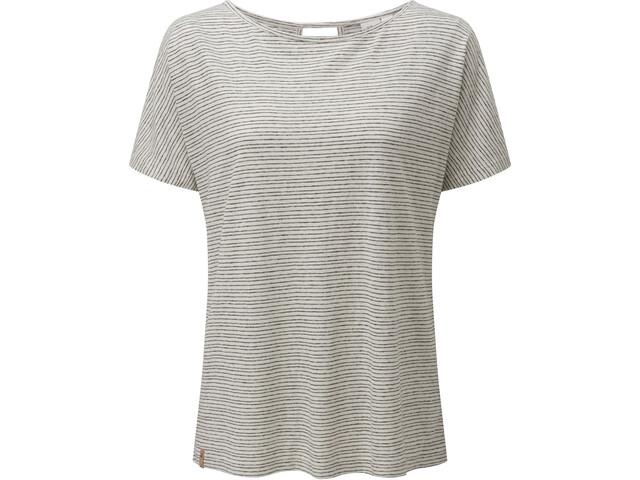 tentree Icefall Camiseta Mujer, elm white/meteorite black stripe